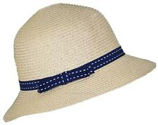 Tropic Hats Womens Cloche Sun Packable Cap W/Dotted Line Band & Bow #914 Khaki
