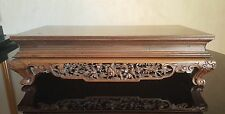 """Early Antique Stunning Detailed Hand Carved Chinese Wooden Stand 15""""x7""""x4"""""""