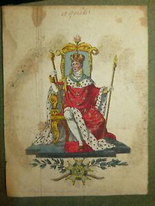 RARE GRAVURE COULEUR PORTRAIT NAPOLEON SACRE EMPEREUR CORSE EPOQUE EMPIRE 1805