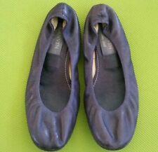 LANVIN EGGPLANT LEATHER BALLET FLATS HIVER 2006 FLAT SHOES Women's Size 37 US 7