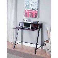 Writing Desk Small Space-saving 2-Tier metal frame USB hub Espresso