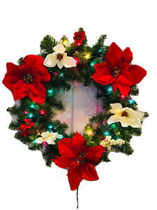 24in Multicolor Lighted Christmas Wreath Red White poinsettias