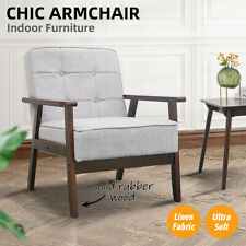 Armchair Lounge Sofa Chairs Linen Fabric/Wooden Couch Recliner Home Office Decor