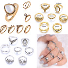 Newly 7PCS Vintage Boho Finger Knuckle Ring Band Pearl Midi Rings Stacking Ring
