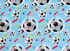 2 Sheets Gift Wrap Footbal Crazy Wrapping Paper Blue Birthday Boys Kids Goal