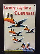 """GUINNESS Flying Toucans Vtg Metal Pub Sign 3D Embossed Steel Decor,Irish 8 x 12"""""""