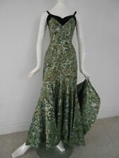 Vintage 1950s ALFRED SHAHEEN Hawaiian Metallic Floral Print Dress Gown RARE