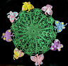 Doily Vintage Hand Crocheted Butterfly's Centerpiece Cottage Decor Colorful