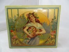 Antique French Cardboard & Wood Trinket Box Wallpapered Covering Art Nouveau