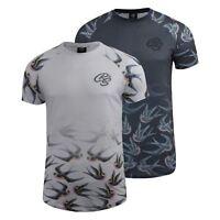 Mens T-Shirt Crosshatch Short Sleeved Raglan Print Tee Top Averys