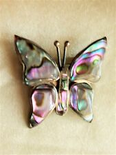 "VINTAGE  STERLING   SILVER  DESIGNER  ""BUTTERFLY""   MOTHER  OF PEARL  PIN"