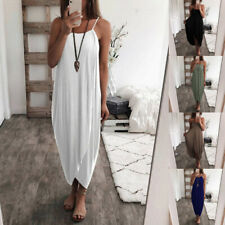 Women Summer Maxi Tank Top Dress Backless Solid Casual Dress Holiday Split Dress