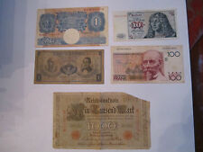 1910 1000 MARK NOTE, 100 CENT FRANCS, 1 POUND NOTE, 1959 1 PESO, 1 MARK - ENV#8