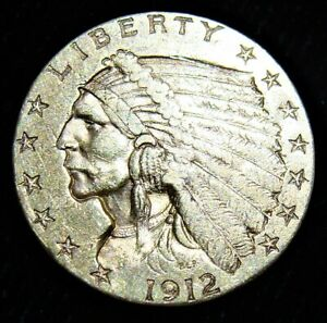 1912 Quarter Eagle, $2.5 Gold Indian, AU.