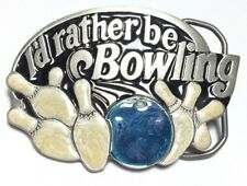 1984 I'd Rather Be Bowling Great Belt American Buckle Co Enamel Vintage A2-Q