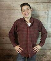Men's Sir Pendleton 100% Worsted Wool Red Tartan Plaid Flannel Shirt Sz L