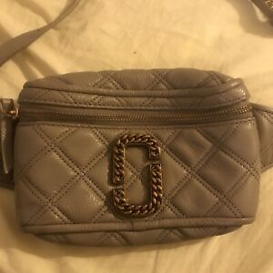 Marc jacobs Grey Gold Twisted Quilted Fanny Belt Bag Waist Leather Pack Limited