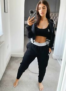 Gym King Womens Taped Jogger-Black
