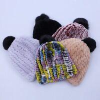 Real Rex Rabbit Fur Knitted Women's Hat Cap Girl's Beanie Winter Fur Pom Pom