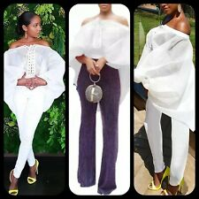 Women's White Off Shoulder Lace-Up Organza Puff Batwing Sleeve Blous ML