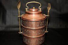 Antique Copper Bronze 3 interlocking Bowls w/cap & Bronze Fork and Spoon Rare