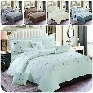Beautiful 3Piece Embroidered Modern Bedspread Quilted Comforter Soft Bedding Set
