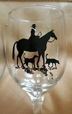 Fox Hunt Side Saddle Horse & Hounds hand painted wine glasses.  Set of 4