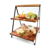 New 2 Tier Acacia Serving Stand Cheese Platter Plank Tapas Grazing Platter FZ