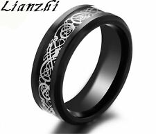 Lianzhi 8mm Silvering Celtic Dragon Stainless Steel Ring Mens Jewelry Men's/xhs Black & Silver 10