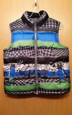 Old Navy Boys Black Multicolor Zip Front Winter Puffer Vest Size Medium M Fleece