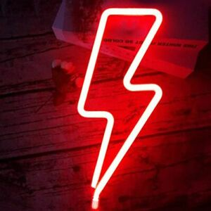 LED Neon Sign Lightning Shaped USB Home Light Wall Decor Party Neon Xmas Gift