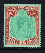 LEEWARD ISLANDS 1938-51 10/- GREEN & RED SG 113b MNH.