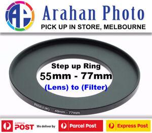 Step Up Ring 55-77mm Filter Lens Adapter 77mm Filter to 55mm Lens