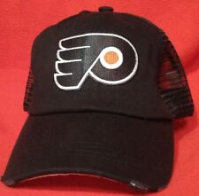 Philadelphia Flyers Distressed Solid Black Truckers Cap Low Profile Flyers Hat