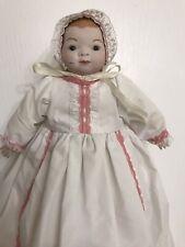 Vintage Porcelain Baby Doll White Dress Antique