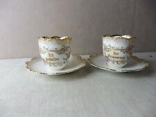 Lot d'anciennes tasses de mariage / Hochzeitstassen, en porcelaine émaillée