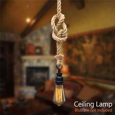 E27 Retro Industrial Vintage Ceiling Rope Pendant Lamp Hanging Light Chandelier