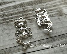 Large Mermaid Pendant Antiqued Silver Focal Pendant 2 inch Fairy Tale Charms NEW