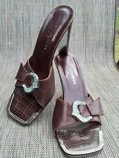 COUTURE DONALD J PLINER brown leather sandals sz.7M with jeweled buckle, Italy