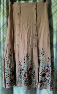 Free People Floral Embroidered Skirt Size 6