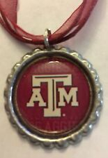 Handmade Texas A&M Aggies Football Inspired Bottle Cap Organza Voile Necklace