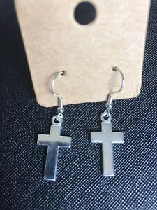 Silver Cross Dangle/Drop Earrings
