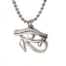 """Egyptian Eye of Horus Charm 24"""" Silver Plated Gothic Necklace"""