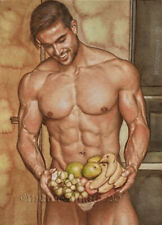 ORIGINAL Artwork Male Drawing Painting Gay Interest MCicconneT~ PERFECT SPIN