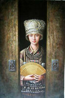"""Art Oil painting beautiful Chinese young girl portrait - Hmong girl canvas 36"""""""