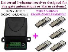 1-canale radio ricevitore + 5 telecomandi per automatizone cancelli AC/DC 12-24V