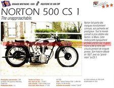 NORTON 500 CS 1 ( CS1 ) 1928 Fiche Moto 000222