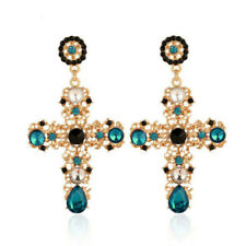 Women Vintage Baroque Style Crystal Luxury Gold Cross Large Long Dangle Earrings