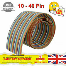 10 14 16 20 26 30 34 40 Way Multi Coloured Flat Ribbon Cable Wire 28AWG