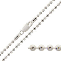 925 Sterling Silver BEAD BALL Chain Necklace 2mm